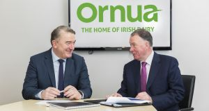 John Jordan (right) appointed as Ornua chief executive designate. Pictured with   Ornua chairman Aaron Forde.