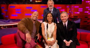 Dwayne Johnson, Naomie Harris, Martin Freeman and host Graham Norton at a taping of 'The Graham Norton Show' in London, England. Photograph: PA Images on behalf of So TV/PA Wire