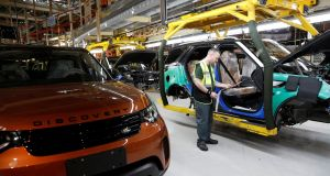 The assembly line at the Jaguar Land Rover facility in Solihull, England. Photograph: Darren Staples/Reuters
