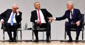 Bertie Ahern, Tony Blair and Bill Clinton at a Belfast  event to celebrate the 20th anniversary of the Belfast  Agreement. Photograph: Reuters/Clodagh Kilcoyne