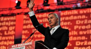 "Milo Djukanovic said victory in Sunday's presidential elections ""is more important for Montenegro and its path than to me personally"". Photograph: Savo Prelevic/AFP/Getty Images"