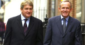 Businessman and INM shareholder  Denis O'Brien and  former INM chairman Leslie Buckley. File photograph: Bryan O'Brien