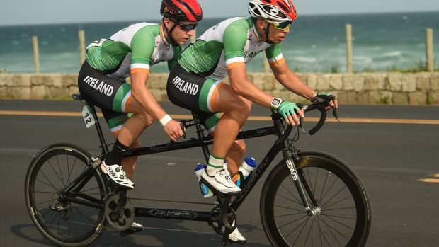 Ireland's Peter Ryan, along with his pilot Marcin Mizgajski, in action during the Men's B Road Race at the Pontal Cycling Road during the Rio 2016 Paralympic Games in Rio de Janeiro, Brazil. Photo: Diarmuid Greene/Sportsfile via Getty Images