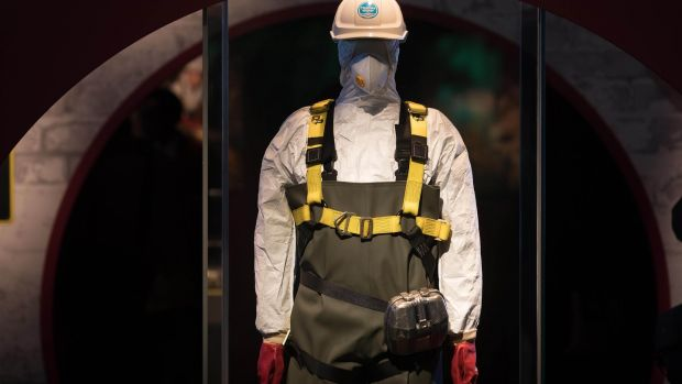 "Protective clothing worn by those waging war on the ""fatberg"", on display at the Museum of London. Photograph: David Parry/PA Wire"