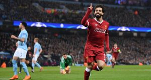 Mohamed Salah of Liverpool celebrates his goal against Manchester City in midweek. He will be up against his former club Roma in the semi-final.  Photograph:  Laurence Griffiths/Getty Images