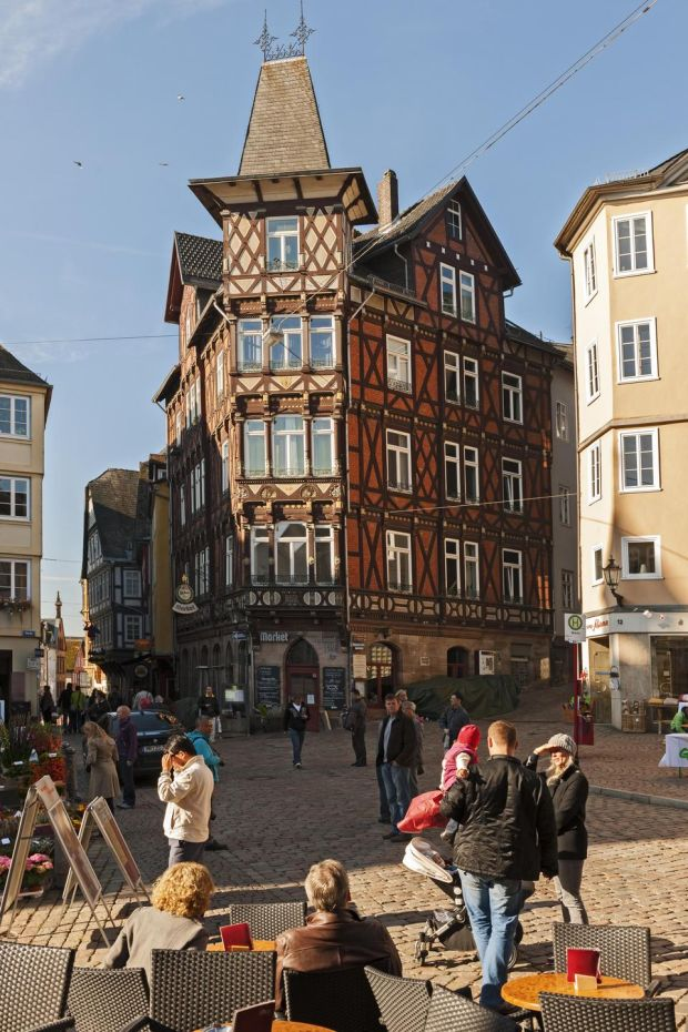 Marburg marketplace with beautiful half-timbered houses