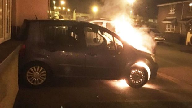 The car belonging to Sinn Féin councillor Kevin Campbell was set alight outside of the family home in Creggan, Derry.