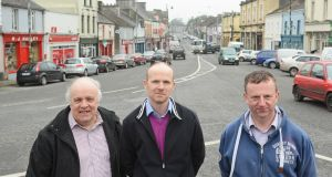 Cllr Michael Mulligan, Dr Martin Garvey and Micheal Frain on The Square,  Ballaghaderreen, Co Roscommon. Photograph: Mick McCormack.
