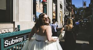 Kelsey Miller on her wedding day. There is increasing exasperation as bigger brides fight for respect in a wedding industry they say is focused on small sizes. Photograph: Katie Osgood via The New York Times