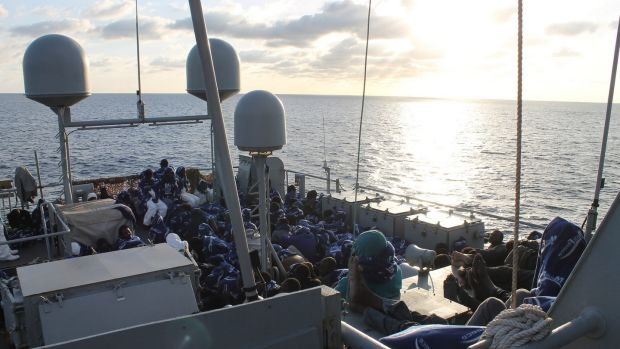 The LÉ Samuel Beckett with more than 500 migrants on board during its operations in the Mediterranean in 2016.