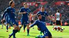 Chelsea's Olivier Giroud celebrates scoring their third goal with Marcos Alonso, Andreas Christensen and Cesar Azpilicueta in their 3-2 win over Southampton. Photo: Glyn Kirk/Getty Images