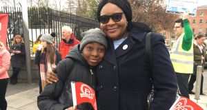 Dean Afolabi (11) with his mother,  Tomi Matuluko at the Beo festival in Dublin. Dean is fluent in Irish and attends Gaelscoil an Bhradain Feasa, near their home in Drogheda, Co Louth.