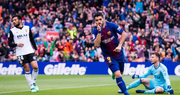 Barcelona take a further step towards la liga title luis suarez of fc barcelona celebrates scoring the opening goal during the la liga match between stopboris Gallery
