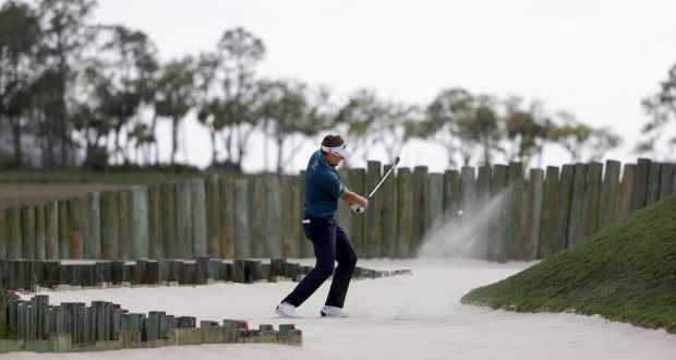 Ian Poulter of England plays a shot from a greenside bunker on the 17th hole during the third round of the 2018 RBC Heritage at Harbour Town Golf Links in Hilton Head Island, South Carolina. Photo: Streeter Lecka/Getty Images