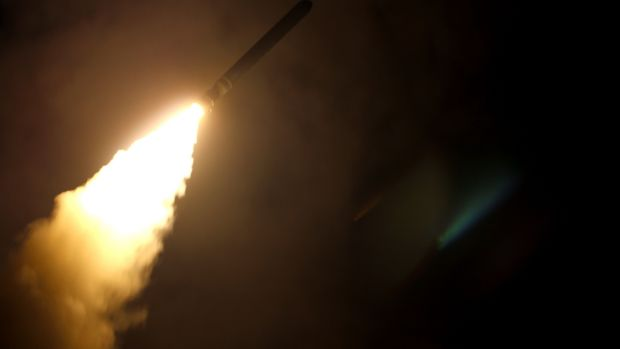 USS Monterey fires a Tomahawk land attack missile on April 14th, 2018. Photograph: US Department of Defense / Kallysta Castillo/Getty Images