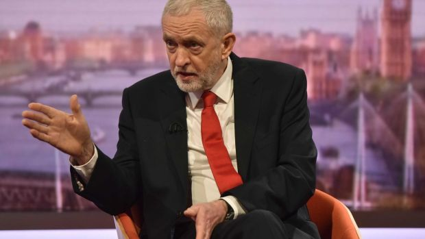 Labour leader Jeremy Corbyn appearing on the BBC1 current affairs programme, The Andrew Marr Show. Photograph: BBC/PA