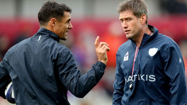 Racing 92 assistant coach Ronan O'Gara and Dan Carter before the Champions Cup game against Munster at Thomond Park in October 2017. Photograph: Bryan Keane/Inpho