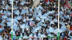 Racing 92 supporters cheer during the  Champions Cup final against  Saracens at the Stade de Lyon in  May, 2016. Photograph:  David Rogers/Getty Images