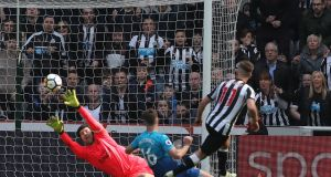 Newcastle United's Matt Ritchie scores their second goal during the Premier League game against Arsenal at St James' Park. Photograph: Scott Heppell/Reuters