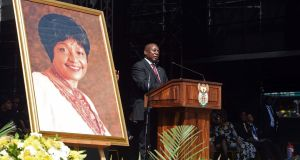 South African president Cyril Ramaphosa delivering the eulogy at the Special Official Funeral service for the late Winnie Madikizela-Mandela at Orlando Stadium in Soweto, Johannesburg, South Africa.