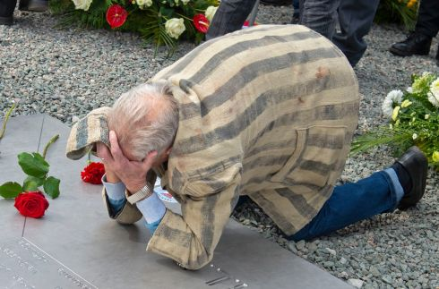 BUCHENWALD COMMEMORATION: Survivor Alexander Bytschok of Kiev, Ukraine, mourns during a commemoration ceremony marking the 73th anniversary of the liberation of Buchenwald, the Nazi concentration camp near Weimar, Germany. Photograph: Jens Meyer/AP Photo