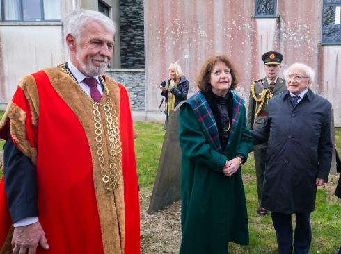 100 YEARS LATER: Mayor of Wexford Cllr Jim Moore, Dr Mary Green (great-granddaughter), and President Michael D Higgins at the Redmond Mausoleum at St Johns Graveyard, Wexford, for a centenarial commemoration of John Redmond MP (1856-1918). Photograph: Patrick Browne