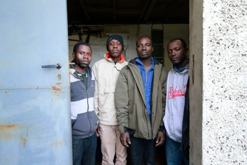 EXPLOITATION SUSPECTED: Four Ghanaian men named as Noel Selorm Adabblah, Joshua Kojo Baafi, James Effirim and John Ninson, at a garage in Finglas, Dublin, where they had been sleeping. It is suspected the four were trafficked into the country for exploitation in the fishing industry, and they have been taken into the care of the State. Photograph Nick Bradshaw