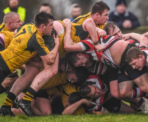 PROVINCIAL TOWNS CUP: A scrum collapses during the Bank of Ireland Provincial Towns Cup rugby semi-final between Tullow RFC and Wicklow RFC at Cill Dara RFC in Kildare. Photograph: Ramsey Cardy/Sportsfile