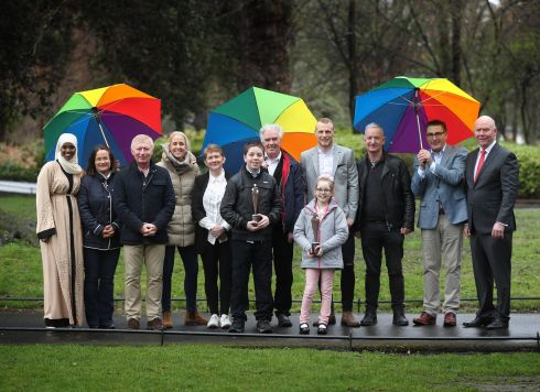 PEOPLE OF THE YEAR: Winners are pictured at the 43rd Rehab People of the Year Awards, in St Stephen's Green, Dublin. The Awards recognise people for heroic deeds and remarkable achievements. Photograph: Robbie Reynolds