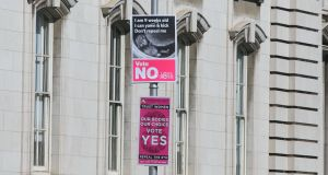 For and against: Placards regarding the upcoming  referendum on the Eighth Amendment hanging  in Dublin city centre. File photograph: Gareth Chaney/Collins