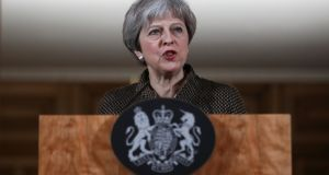 British prime minister Theresa May gives a press conference at Downing Street in central London on April 14, 2018 following British military action against Syria.  Photograph:  Simon Dawson/AFP/Getty Images