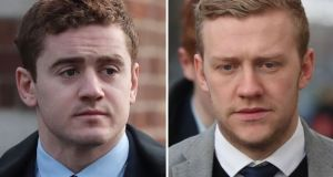 Rugby players Paddy Jackson (left) and Stuart Olding have had their contracts revoked by Ulster Rugby and the IRFU. File photograph: Niall Carson/PA Wire