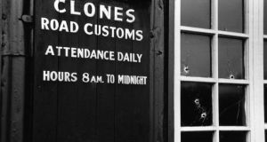 The Clones Road customs post in 1956: the town was one of the biggest losers in Ireland's partition. Photograph:  Charles Hewitt/Picture Post/Getty Images