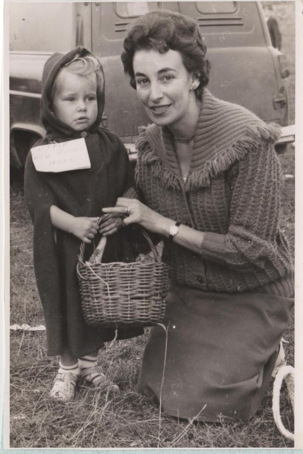 Catherine Foley dressed as Little Red Riding Hood with her mother at Geneva Barracks