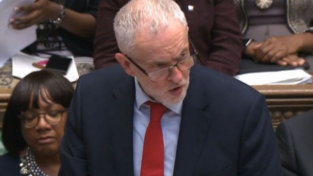 Labour leader Jeremy Corbyn questioned the legal basis of the air strikes on Syria and accused her of acting on Donald Trump's whim. Photograph: PA Wire