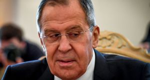 Foreign minister Sergei Lavrov said Russia had not tampered with the site of the alleged chemical weapons attack on April 7th  in Douma, Syria. Photograph: Yuri Kadobnov/AFP/Getty Images