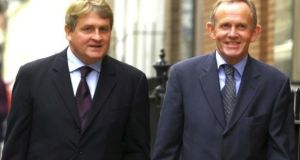 INM's largest shareholder Denis O'Brien and former company chairman Leslie Buckley. File photograph: Bryan O'Brien/The Irish Times