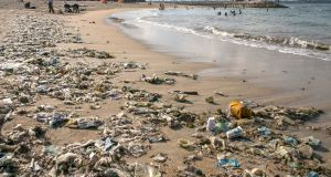 Plastic waste  washed ashore  on Sanur beach in Bali, Indonesia,  April 12th. Photograph: Epa/Made Nagi