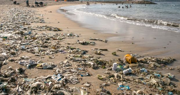 Beach polluted with plastic