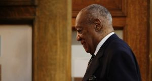 Comedian Bill Cosby returns to the courtroom after a recess on the sixth day of his sexual assault retrial at the Montgomery County Courthouse in Norristown, Pennsylvania, US. Photograph: Dominick Reuter/Reuters