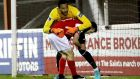 St Patricks Athletic's Jake Keegan and Lawrence Vigoroux of Waterford collide. Photograph: Inpho
