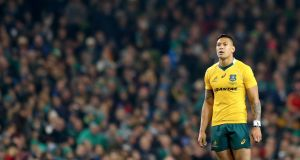 Israel Folau has escaped sanction from Rugby Australia for anti-gay comments made on his Instagram. Photograph: James Crombie/Inpho
