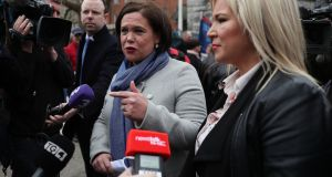 Sinn Féin president Mary Lou McDonald (left): embarked on a mini-tour of the country. Photograph: Brian Lawless/PA Wire