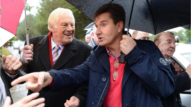 Big Tom and Daniel O Donnell at the funeral of Irish country sing Larry Cunningham in 2012. Photograph: Dara Mac Dónaill