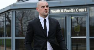 Republic of Ireland footballer Darron Gibson arrives at South Tyneside Magistrates' Court in South Shields on Tuesday. Photograph: PA
