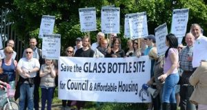 A homeless protest at the Irish Glass Bottle site calling for affordable housing in 2016. File photograph: Cyril Byrne