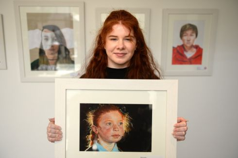 HETTY LAWLOR: Overall winner, Young Mayo artist Hetty Lawlor - a 17-year old student from Kilmeena, near Westport and a pupil at the local Sacred Heart School - with her picture  entitled 'Grainne', winner of the 64th Texaco Children's Art competition  held at the RHA Dublin. Photograph: Dara Mac Donaill/The Irish Times