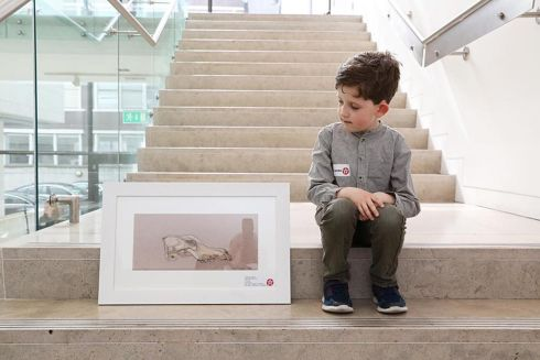 NOAH JAMES FLYNN: Noah James Flynn (8), a Galway student from Scoil Bhride, Menlo, has won third prize (€125) in Category E  (7-8 years) for a painting entitled Fox Skull. Photograph: Mac Innes Photography