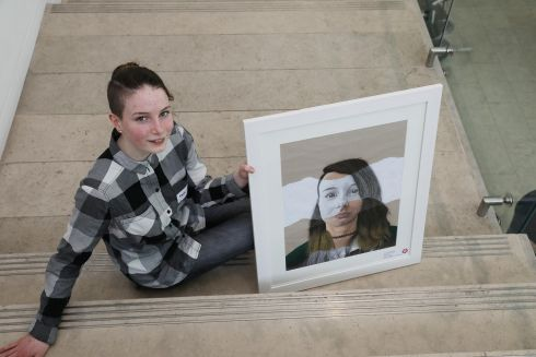 TARA NEVILLE MOYNIHAN: Kildare student Tara Neville Moynihan (14) , from Colaiste Chiarain, Leixlip, has won first prize €450 in Category B (14-15 years) for her self-portrait. Photograph: Mac Innes Photography