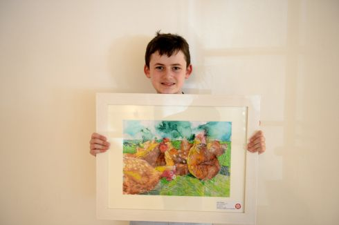 JAMES MOONAN: Second prize (€300) went to Louth student James Moonan (12), from The Arthouse, Drogheda, in his category for his entry entitled Hens On The Farm.  Photograph: Dara Mac Donaill/The Irish Times